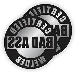 Bad Ass Welder Hard Hat Stickers | Silver and Black Motorcy