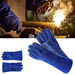 Blue 14 Inch Welding Gloves BBQ Heat Resistant Lined Leather