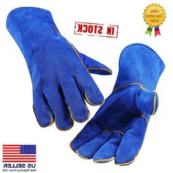 Blue 14 Inch Welding Gloves Heat Resistant Lined Leather for