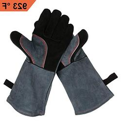Upgraded Leather Forge Welding Gloves - 932°F Fire/Heat Res
