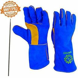 Welding Gloves 14&quot For Arc, MIG And TIG Welders With Ste